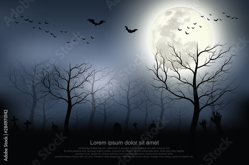 Foto auf AluDibond Schwarz Halloween background. Spooky forest with full moon and grave.