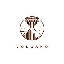 Mountain Eruption Logo Design Vector Template