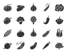 Vegetable Food Black Silhouette Icons Vector Set