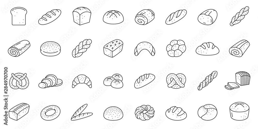 Fotografie, Obraz Bread bakery baking loaf thin line icon vector set