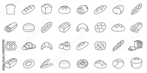 Fotografía Bread bakery baking loaf thin line icon vector set