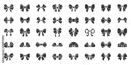 Foto Ribbon bow gift black silhouette icon vector set