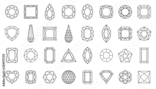 Diamond gem jewel gemstone line icon vector set Wallpaper Mural