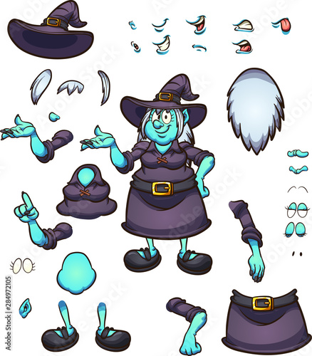 Halloween Cartoon Witch Face.Cartoon Halloween Witch Character With Different Face Expressions