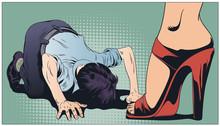 Man Worships Woman. Man Prays Girl Feet's. Stock Illustration.