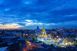 Cityscape of beautiful Wat Traimit or Temple of the Golden Buddha where the biggest solid golden Buddha statue is installed near the Chinatown , Bangkok , Thailand