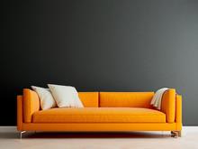 Black Mock Up Wall With Orange Sofa In Modern Interior Background, Living Room, Scandinavian Style, 3D Render, 3D Illustration