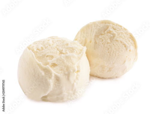 Fotografie, Obraz  Scoops of delicious ice cream on white background