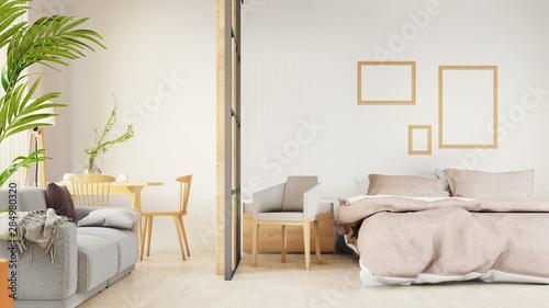 Carta da parati  Interior poster mock up living room with colorful white sofa