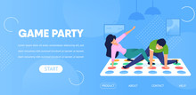 Game Party Horizontal Banner. Couple Play Twister