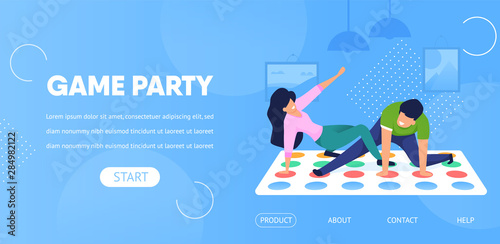 Game Party Horizontal Banner. Couple Play Twister Canvas-taulu