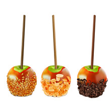 Green Apples On A Stick In Caramel Covered With Chopped Nuts, Almond Flakes And Dark Chocolate Curls.