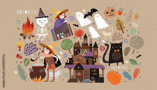 Ingelijste posters Halloween Set of cute objects for Happy Halloween. Vector illustrations of a castle, a witch, a ghost, a skeleton, a pumpkin, a bat, a pet cat, trees, plants and a bonfire with a potion