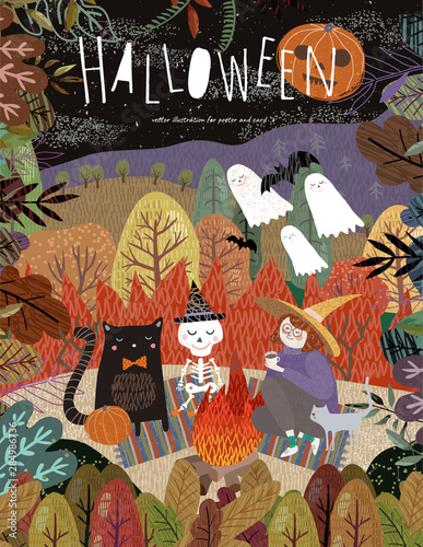 Poster Happy Halloween! Vector illustration of cute characters: witches, ghosts, bats, scary pumpkin, skeleton and cat pet on a picnic near the fire. Drawing for background, poster or card.