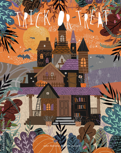 Ingelijste posters Halloween Happy Halloween. Cute vector illustration of a castle or mansion in a dark forest on nature with bats, freehand drawing for background, poster or card. Trick or treat!