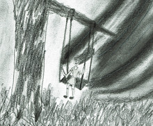 Little Girl On A Swing, Pencil Drawing