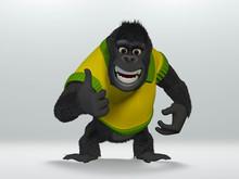 Gorilla Thumbs Up. 3D Illustra...