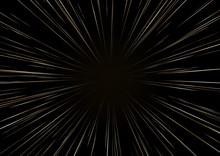 Background With Stars Or Hyperspace. The Light Of Moving Golden Stars. Speed Of Light.
