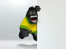 Gorilla Indicating, Pointing Or Showing Sign. 3D Illustration.