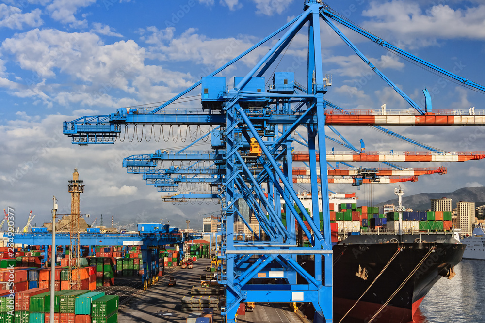 Fototapeta Shipping and container terminal in the port of Genoa , Italy