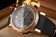 Wrist Watch Packed In Open Wooden Box. Roman Dial