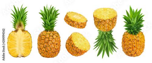 Fotografija Whole and sliced pineapple isolated on white background