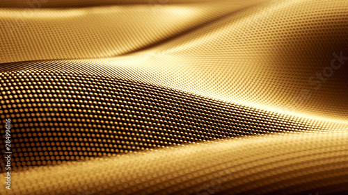Particle drapery luxury gold background. 3d illustration, 3d rendering. - 284996116