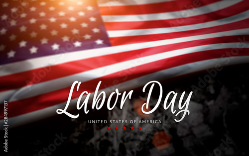 Photo Stands Height scale USA Labor Day greeting card with american flag background
