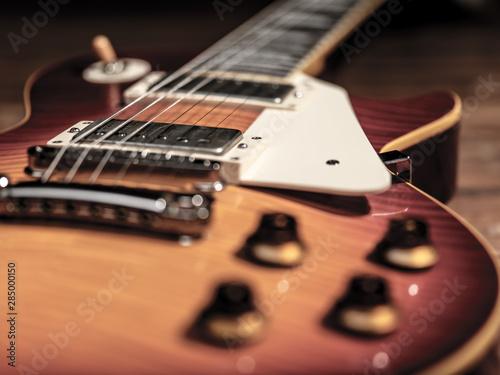 Obraz na plátně  Old Vintage electric guitar body close-up view