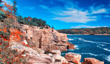 Acadia National Park From A High Viewpoint In Foliage Season, Maine, New England
