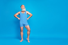 Full Length Body Size View Of His He Nice Attractive Trendy Stylish Content Cool Strong Proud Gray-haired Man Isolated Over Bright Vivid Shine Turquoise Blue Green Background
