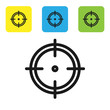 Black Target sport for shooting competition icon isolated on white background. Clean target with numbers for shooting range or shooting. Set icons colorful square buttons. Vector Illustration