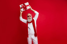 Cool Aged Santa Like Man Came 2020 Party With Big Giftbox Wear Sun Specs Knitted Jumper Isolated Red Background