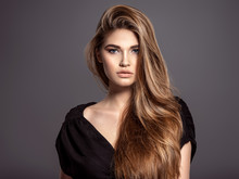 Woman With Beauty Long Brown Hair. Fashion Model. Pretty Face.