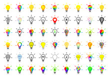 Big Set Of Lightbulbs. Bulb Collection With Many Different Concept Made In Various Design And Style On White Background.