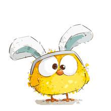 Cute Little Easter Chicken Wearing Bunny Ears