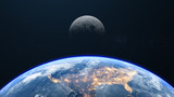 Earth And Moon Close Up Earth Background