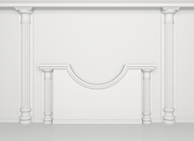 White Wall With Classical Colu...