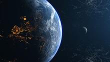Europe Earth Moon Left View Plexus Background