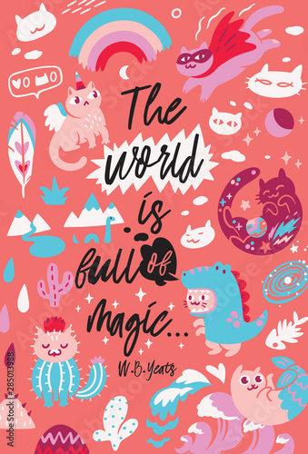 Quote Posters With Different Kawaii Characters Cats Vector