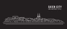 Cityscape Building Line Art Vector Illustration Design - Skien City