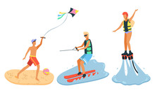 Man Flying Kite On Beach. Guy In Sunglasses Water Skiing. Woman In Life Vest And Helmet Flyboarding. Recreational Water Sports, Seaside Leisure Vector. Flat Cartoon. Summertime Activity
