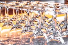 Many Upturned Wine Glasses On ...