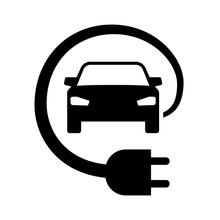 Electric Car With Energy Charging Cable Plug Icon Symbol