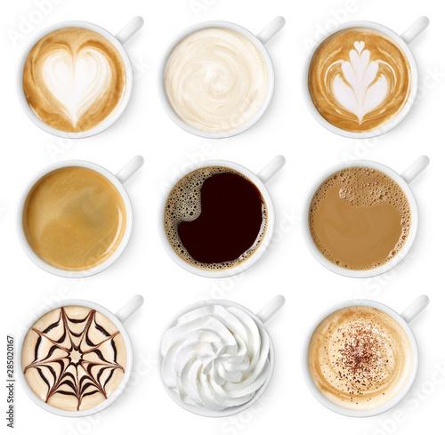 Set of different coffee types Fototapet