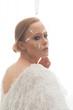 canvas print picture - Fashion photo. High Fashion model with feather false eyelashes.