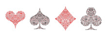 Set Of 4 Playing Card Suits Ic...