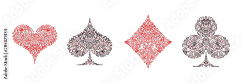 Fotomural Set of 4 Playing card suits icons decoration pattern diamonds, clovers, hearts, spades template black and red