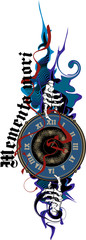 Fototapeta na wymiar The skeleton's hand points to the clock, talking about the fleetingness of life. Latin motto