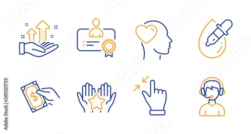 Certificate, Touchscreen gesture and Friend line icons set Wallpaper Mural